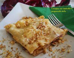 lasagna con radicchio, gorgonzola al mascarpone e noci.Pasta fresca