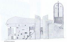 Le Corbusier - Notre Dame du Haut, Ronchamp Architecture Panel, Architecture Drawings, Gothic Architecture, Historical Architecture, Architecture Details, Ronchamp Le Corbusier, Model Sketch, Notre Dame, Buildings