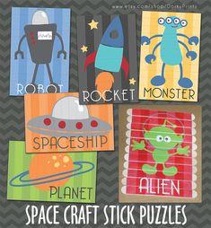 Outer Space Craft Stick Puzzles PDF  preschool by DorkyPrints, $3.99
