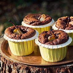 Babeczki czekoladowe Brownie z gruszką   Kwestia Smaku