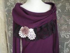 Bohemian Sweater Dress  Plum Romantic Sweater Dress  by Pursuation, $48.00