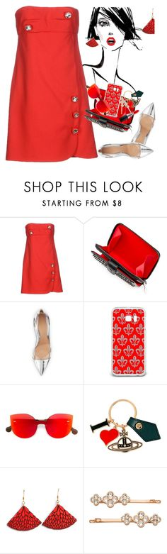 """""""Dressed Up:  RED"""" by petalp ❤ liked on Polyvore featuring Christopher Kane, Christian Louboutin, Gianvito Rossi, Samsung, RetroSuperFuture, Vivienne Westwood, Henri Bendel, MAC Cosmetics, red and dress"""