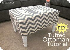DIY Tufted Ottoman Fabric Recover Tutorial | Six Sisters' Stuff