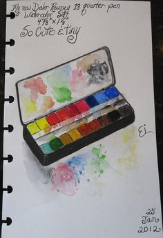 Daler Rowney 18 quater pan Watercolor set.  I LOVE this as it is sooo tiny & cute!!