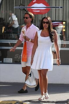 Azzedine Alaia Grenade Luxe Dress, Celine Boston Bag, and Alaia Flat Sandals in Scalloped White Suede with Floral Perforated Pattern. Celebrity Fashion Looks, Celebrity Style, Star Fashion, Kids Fashion, Fashion Trends, Azzedine Alaia, Boston Bag, Spring Fashion, White Dress