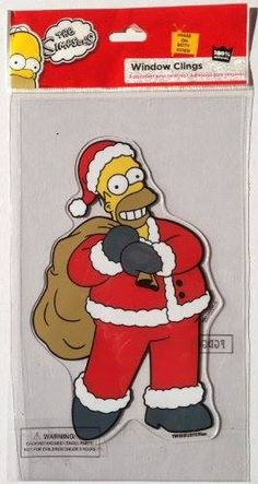 The Simpsons HOMER SIMPSON SANTA Christmas Decoration WINDOW CLING (8 Inches Tall) http://order.sale/kfBg (via Amazon)