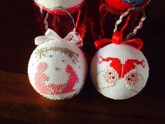 Palline per albero di natale a punto croce, babbo natale, presepi - cross stitch, Christmas decorations, Santa Claus, nativity