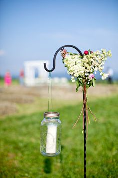 shepherds hook with flowers attached?