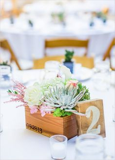 Simple wooden box centerpiece with mixed floral arrangement. Captured By: Blueberry Photography ---> http://www.weddingchicks.com/2014/05/15/romantic-wedding-under-the-trees/