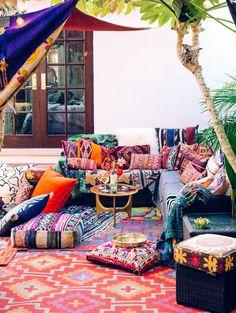 colorful bohemian outdoor decor