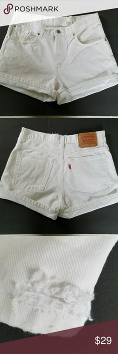 """VINTAGE WHITE DENIM HIGH WAISTED LEVI'S SHORTS 30 VINTAGE WHITE DENIM HIGH WAISTED CUFFED LEVI'S SHORTS Size on label says 11 JR. Actual measurements are waist is 15"""" rise is 10"""" and inseam cuffed is 2"""" and uncuffed 3.75"""". All measurements are approximate and taken flat.  There is slight destruction on lower inner legs and distressing on the waist band. These will hug your butt for a stunning look! Grab these white shorts, a cute top, some sandals and head out looking for adventure! Levi's…"""