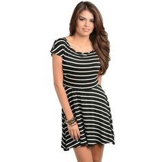 Has potential... Feellib Women's Black and White Striped Fit-n-flare Dress