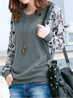 So Pretty! Love the Lace Sleeves! Grey Lace Spliced Long Sleeve Round Collar…