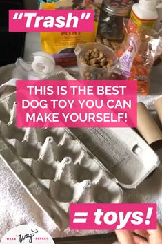 A DIY Busy Box enrichement toy is a great way to keep your bored dog busy! Put together a homemade puzzle toy to challenge and tire out your dog. Homemade Dog Toys, Diy Dog Toys, Best Dog Toys, Pet Toys, Dog Treat Toys, Brain Games For Dogs, Dog Games, Diy Dog Treats, Dog Treat Recipes