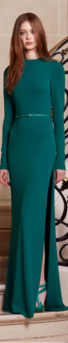 Elie Saab ● Pre-Fall 2014 I looove this colors! Elie Saab, Green Fashion, High Fashion, Bcbg, Green Gown, Business Outfit, Mode Style, Beautiful Gowns, Dream Dress