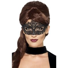 Venezianische Spitzen Augenmaske schwarz