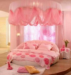 Pretty in pink bedroom. My oldest daughter would love this room!