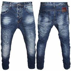 Pantaloni Jeans Uomo Style Harem Cavallo Basso Cotone Denim Bellois Fashion M180