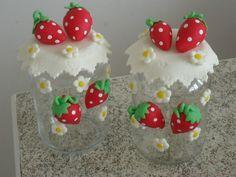 Frascos decorados frutillas