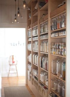 Brilliant use of space - could only put the 'nice' jars on display though!  |  Make a hallway pantry