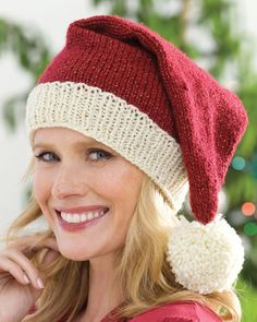 Free Knitting Pattern for Santa Hat - Easy holiday hat by Edie Eckman in two sizes.