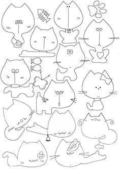 cats - templates for making felt cats
