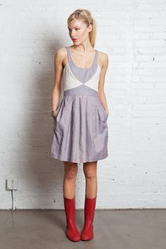 I love lavender and red together. This dress is super cute.