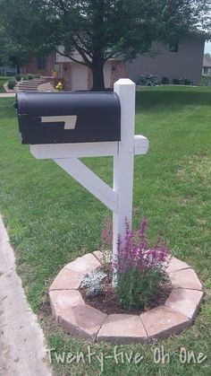 Mailbox ideas with landscape stones and perennials. #MailboxLandscaping #MailboxLandscape