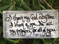 I thank my God wedding sign, Phil.1:3,, wedding signage, rustic sign, shabby chic on Etsy, $14.99