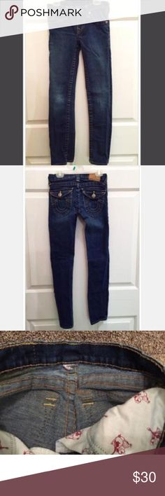"👖True Religion Jean Size tag was cut off. Daughter was between an 8-10 when she wore these. Knees are alittle faded but NO holes. Kids ""JULIE"" style fit. True Religion Kids Dresses"