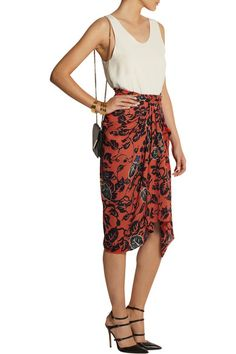 Burnt-orange silk Multicolored print, draped front Concealed hook and zip fastening at back silk Dry clean Draped Skirt, Silk Skirt, Rossi Shoes, Jennifer Fisher, Burnt Orange, Tao, Chloe, High Waisted Skirt, Runway