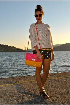 "Black Shorts Black Shorts, Cream Sweater Cream Sweaters, Hot Pink Bag Pink Bags | ""POLKA DOTS!!!!"" by LucasyLola"