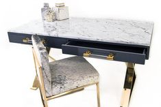 Cape Town Desk with Marble Top- Cape Town Desk with Marble Top Marble top DeskThe Cape Town Desk compliments the marriage of lucite and brass with a dark grey finished desk and marble top. The desk has two push tap drawers, accented with - Desk Redo, Desk Makeover, Marble Top Desk, Bedroom Desk, Gold Bedroom, Bedroom Inspo, Dream Bedroom, Desk And Chair Set, Knives