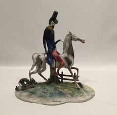 Toni Moretto Lo Scricciolo Man on Horse Figurine Italy #ToniMorettoLoScricciolo
