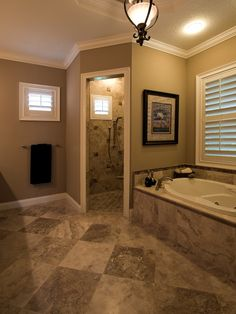 Doorless Shower Designs for Your Bathroom: Traditional Bathroom With Elegant Doorless Shower Designs Also Charming Gray Marble Floor Design Also Brown Wall Paint Color And Classic Pendant Lamp Also Modern Bathtub And Faucet Design Also Windows With Blinds ~ vettelicious.com Bathroom Ideas Inspiration