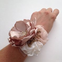 Best 12 Wrist Corsage and Boutonnière Set by TheVintageCabbgeRose on Etsy Corsage And Boutonniere Set, Brooch Corsage, Flower Corsage, Wrist Corsage, Bridal Hair Flowers, Satin Flowers, Fabric Flowers, Silk Ribbon Embroidery, Diy Embroidery