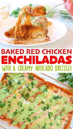 Baked Red Chicken Enchiladas are filled with a delicious shredded chicken-cheese mixture, then slathered with the BEST Red Enchilada Sauce, and topped with a blend of cheeses! As an option, you can drizzle our Creamy Avocado Sauce on top! Chicken Enchilada Bake, Recipes With Enchilada Sauce, Red Enchilada Sauce, Sauce Recipes, Chicken Casserole, Vegan Recipes Easy, Mexican Food Recipes, Dinner Recipes, Cooking Recipes