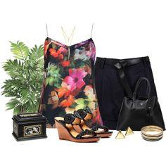 Summer Floral by diane-shelton on Polyvore featuring polyvore fashion style Ted Baker 3.1 Phillip Lim Jack Rogers Prada Jennifer Lopez Lauren Ralph Lauren CC SKYE