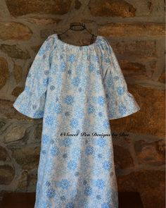 Toddler flannel nightgown girls snowflakes by SweetpeadesignsbyDee
