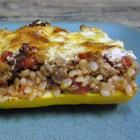 Cheese and Sausage Stuffed Zucchini Recipe--we left out the tomatoes.  Next time I'll use ricotta instead of cottage cheese