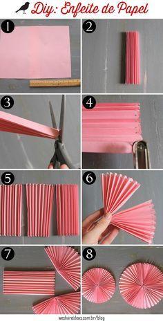 projeto faça você mesmo rosáceas de papel rosa. Passo a passo e detalhes no site.