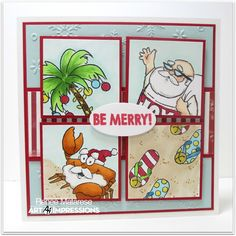 Art Impressions Rubber Stamps: 4788 – Tropical Christmas Set with Santa, Palm Tree, flip flops and a crab!  Handmade card.