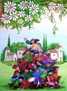 Un mucchio di bambini, olio su tela