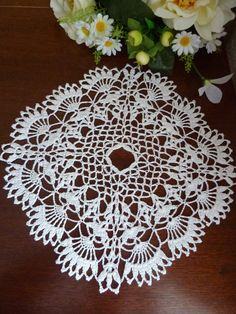Crochet doilycrochet napkinsquare doilycrochet by FlowerKingdomArt
