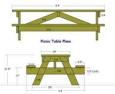 plans for building an 8 foot long picnic table!
