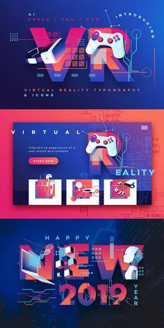 VR Icons and Typography by Polar Vectors on Creative Market - corporate branding design Banner Design, Layout Design, Backdrop Design, Poster Design Software, Design Poster, Design Food, Game Design, Design Tech, App Icon Design