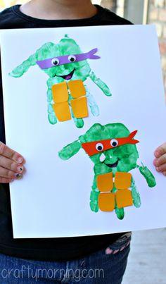 handprint ninja turtle craft for kids
