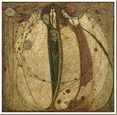 """The White Rose and the Red Rose"" 1902 by Margaret MacDonald Mackintosh.I love her work. She was a bit overshadowed by her husband, Charles Rennie Mackintosh. Charles Rennie Mackintosh, White Roses, Red Roses, Gustav Klimt, Art Romantique, House For An Art Lover, 7 Arts, Glasgow School Of Art, Glasgow Girls"