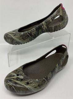 e322fe2bd8ad Crocs Womens Kadee Camouflage Rubber Slip On Flats EU 37.5 US 7  fashion   clothing