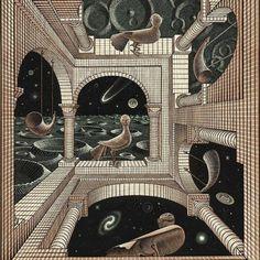 Os desenhos infinitos do holandês Escher @m.c.escher_art   #caos #ordem #art #illustration #gravura #infinity #opticalart